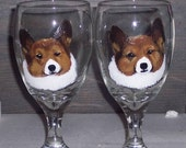 CUSTOM Pet Ice Tea Glasses Hand Painted with YOUR pet. Set of 2