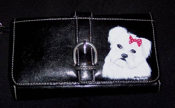 Hand Painted Maltese Dog Wallet