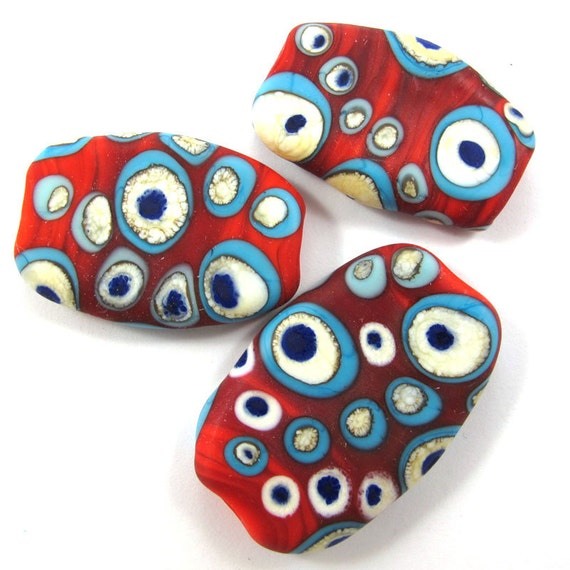 Handmade Lampwork bead glass focal - Lampwork beads set - Dramatic Red Squeezed Beads (3) SRA