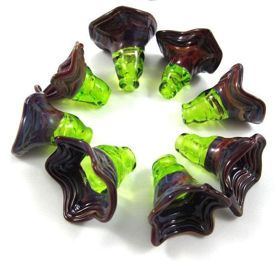 SALE - Handmade Lampwork bead glass - Lampwork beads set - Fairy Thimble Bell Beads (8) SRA