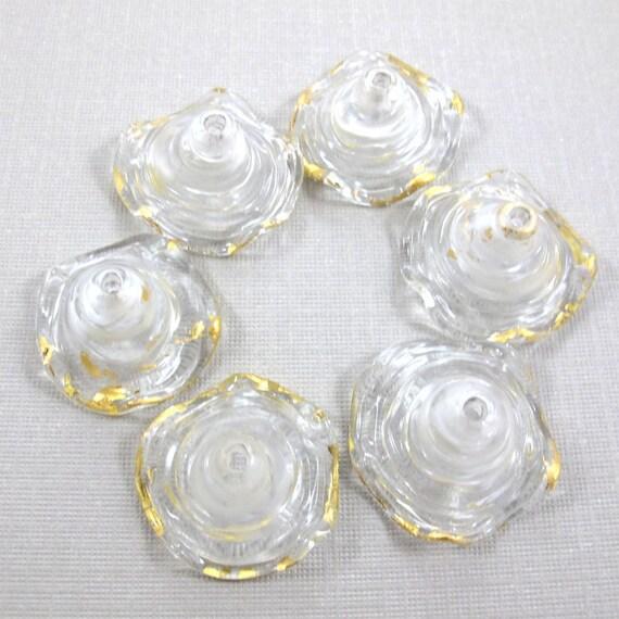 Lampwork glass beads, Lampwork beads set, Lampwork beads, Golden clear Skirt Bell Beads (6) SRA