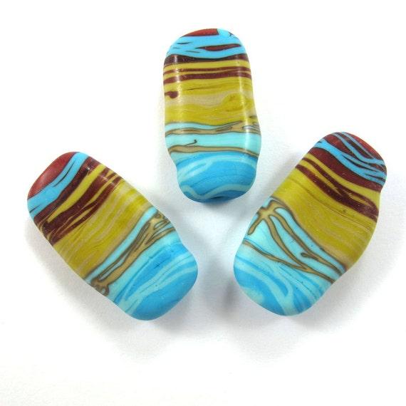 Sale - Lampwork beads, Handmade lampwork bead  glass focal, Lampwork beads, Lampwork beads set, Squeezed Caterpillar Beads (3) SRA