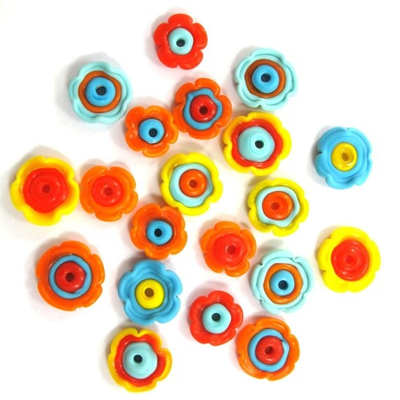 Lampwork Beads, Lampwork beads set, Lampwork Glass Beads, Flowers Beads(20) SRA