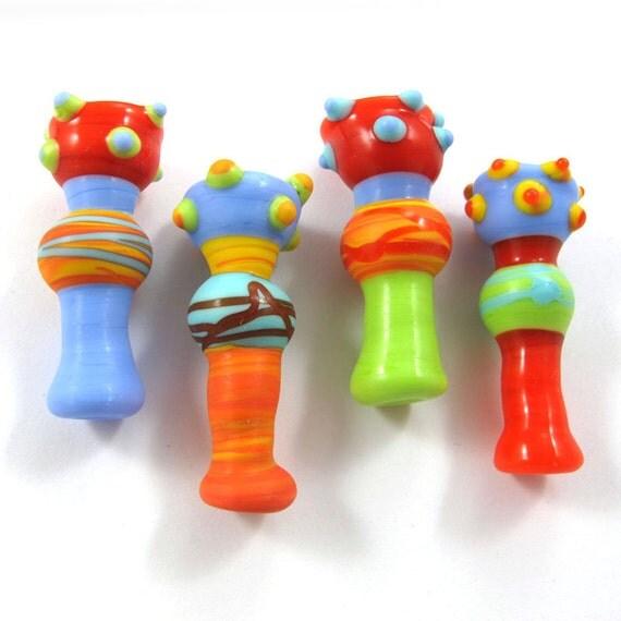 Lampwork beads, Handmade lampwork bead  glass, Lampwork beads, Lampwork beads set, Chalice Beads (4) SRA