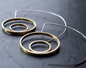 Half moon earrings - silver and brass hoops