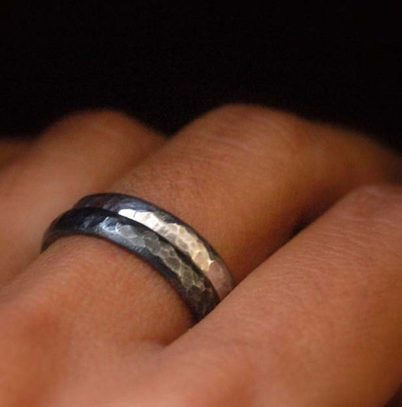 Night and Day Stacking silver rings. wedding band. set wedding rings