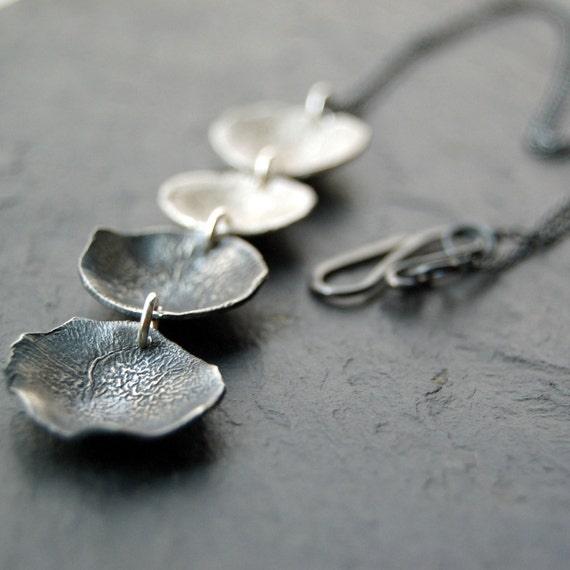 Falling petals - reticulated silver pendant