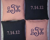 Cornhole Bags Wedding Monogrammed Navy and Light Pink Set of 8 Bags
