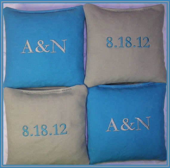 Cornhole Bags Wedding Personalized Date Couple Initials Set of 8 Bags Turquoise and Gray