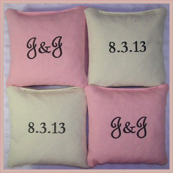 Wedding Cornhole Bags Personalized Date Couple Initials Light Pink and Cream Set of 8 Bags