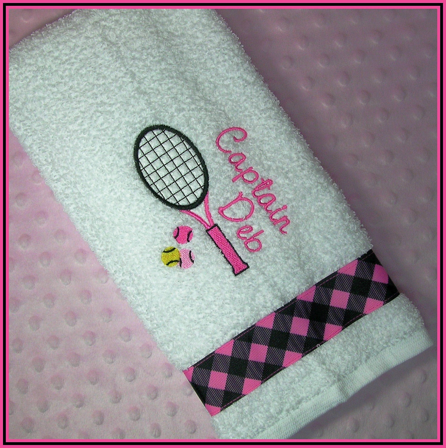 Personalized Sweat Towel: Personalized Tennis Racket Sweat Towel With Racket And Balls