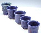 Blue Ceramic Shot Glass Jigger Mini Pot