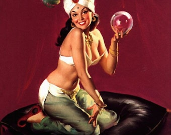 SALE . ELVGREN . I DREAM OF GENIE . PALM READER . FORTUNE TELLER . CRYSTAL BALL . CASBA . FINE ART CANVAS PRINT . PINUPS . SALE