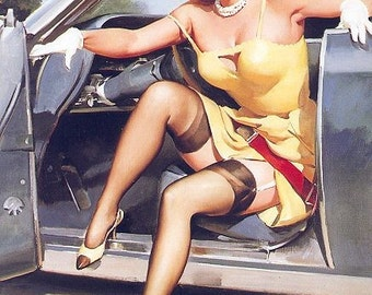 SALE . ELVGREN . SAFE TEASE . HOT ROD . RACE CAR . STOCKINGS . HIGH HEELS . FINE ART CANVAS PRINT . PINUPS . SALE
