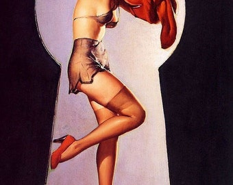 ELVGREN. Pin-Up. PEEK-a-VIEW. Bathroom Lingerie, stockings, nylons up-skirt voyer pinup through Key Hole Sale