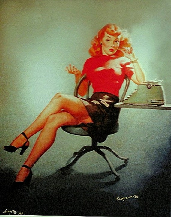 The perfect pinup - MAD MEN - OFFICE ART - SECRETARY GIRL Pin-Up by ELVGREN 12x18 Art Paper