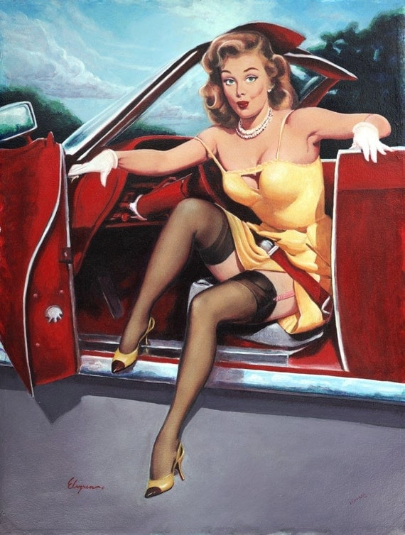 STEPPING OUT. HOT ROD . CONVERTIBLE . LIMITIED EDITION GICLEE ON WATERCOLOR ART STOCK