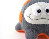 Handmade Plush  Microbe Neon Orange and Gray Fluffcrobe
