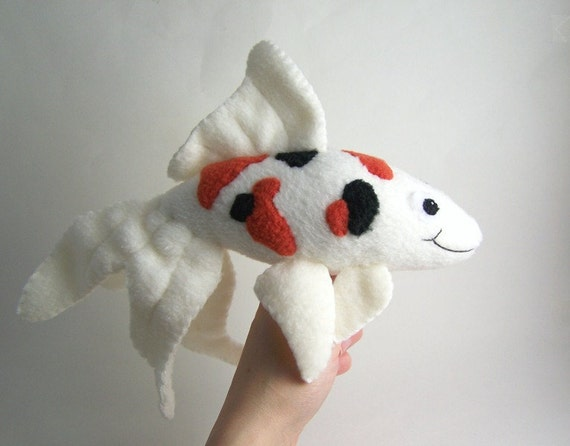 Handmade koi fish stuffed animal with orange and black for Fish stuffed animal