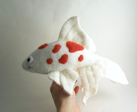 Handmade koi fish stuffed animal in red and white for Fish stuffed animal