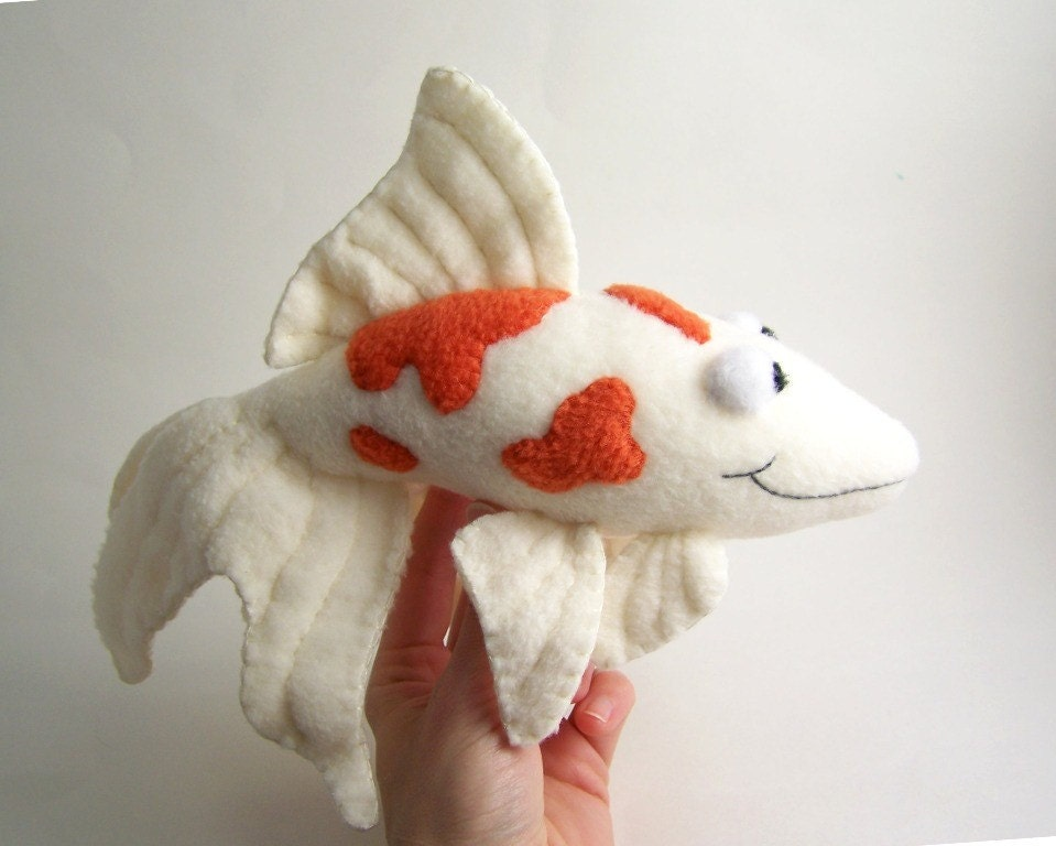 handmade orange and white koi fish stuffed animal