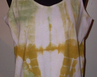 Hand-Dyed Tank Top in Olive Green and Antique Gold - Medium