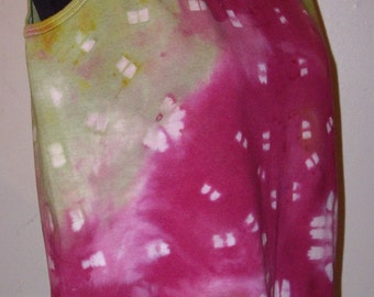 Magenta and Olive Green Hand-Dyed Tank Top - Medium
