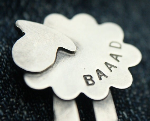 Sterling Silver Sheep Pin - BAAAD - Great Gift for Knitters
