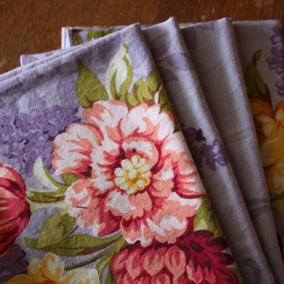 Four Lavender Spring Cloth Napkins