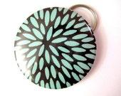 Turquoise Raindrops - Japanese Chiyogami -- CHOICE OF Keychain Bottle Opener -OR- Japanese Pocket Mirror stocking stuffers
