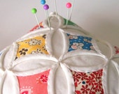 Pincushion Miniature Cathedral Window Pillow, Feedsack Reproductions - 5 Inches Square