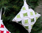 Green Christmas Batik Miniature Cathedral Window Pillow Ornament - 4 Inches