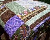 Clearance SALE Quilt Lap or Twin Coverlet in Brown, Green and Purple - Chelsea Garden Vintage - 64 x 78
