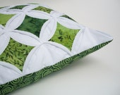 Green Batik Cathedral Window - 18 Inch Pillow Cover
