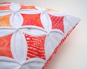 CLEARANCE Orange Pillow Decorative Pillow Cover Cathedral Window Batik Throw Pillow 18 Inch