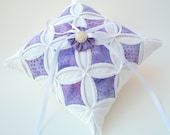 Ring Bearer Pillow Purple Lilac Wedding Batik Cathedral Window DISCONTINUED 40% OFF - 8 Inches Square