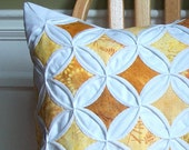 Pillow Cover Gold Batik Home Decor Cathedral Window Geometric Decor - 18 Inches