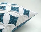SALE Decorative Pillow Cover Indigo Blue Batik Cathedral Windows Pillow Cover 18 Inches