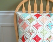 Decorative Pillow Cover Cathedral Window LAST ONE Featured in Romantic Homes Magazine - 18 Inch