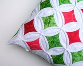 CLEARANCE Decorative Pillow Cover Christmas Pillow Cathedral Window Red Green Batik 18 Inch