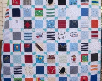 "Reserved for Jamie Baby Clothes Quilt Memory Quilt Custom Order 58"" x 66"""