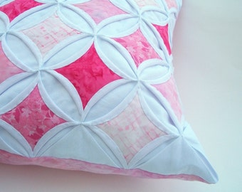 35% Off Decorative Throw Pillow Cover Pink Pillow Batik Cathedral Window 18 Inch