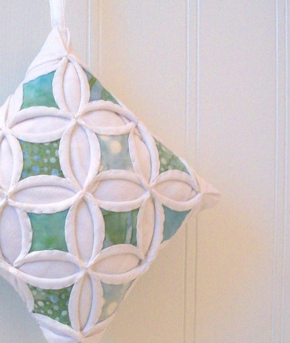 Cyber Monday Etsy Christmas Holiday Ornament Miniature Cathedral Window Pillow Mint Aqua Green Batik - 4 Inches