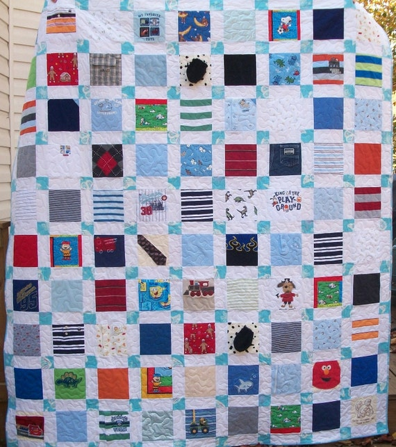 "Reserved for Ursula BABY CLOTHES Quilt Heirloom Memory Quilt Custom Order 58"" x 66"" - Using Your Baby Clothes"