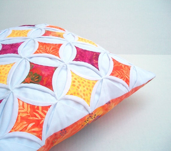 Pillow Cover Batik Cathedral Window Pink Orange Yellow 18 Inch