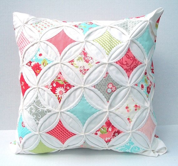 Decorative Pillow Cover Cathedral Window Cottage Style Red Aqua Ruby 18 Inch