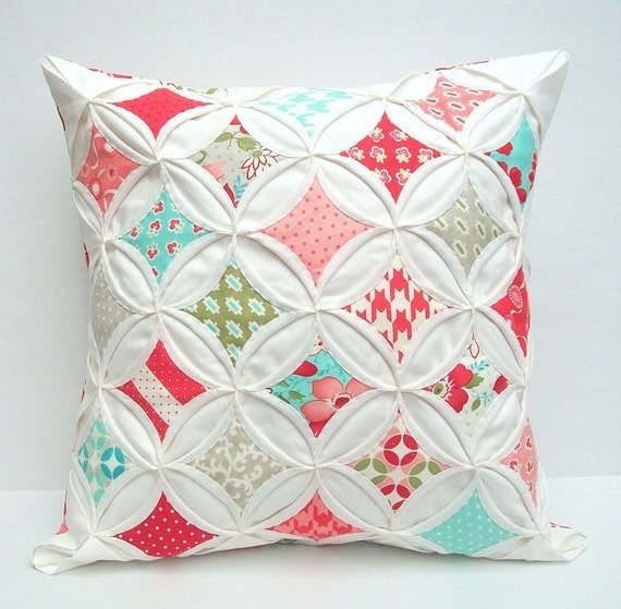 35% Off Decorative Pillow Cover Cathedral Window Cottage Style Modern Vintage Red Aqua 18 Inch