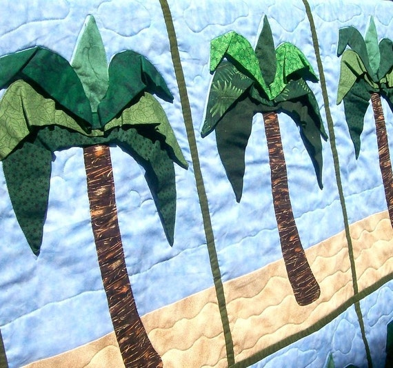 3d Palm Tree Quilt 36 X 58 By Warmnfuzzies On Etsy