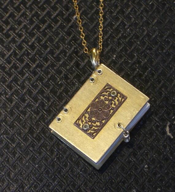 Miniature Brass Book Necklace- Wrought Iron