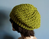 Slouchy Beanie Winter Hat, Knit Hat, in Lemongrass Green - Winter Accessories